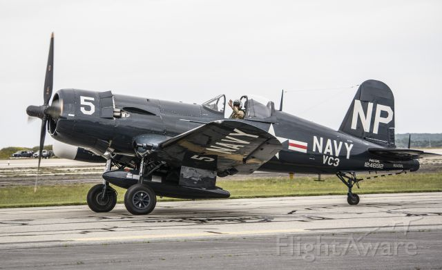 VOUGHT-SIKORSKY V-166 Corsair (NX45NL) - F4U-5NL Corsair taxiing in after flying a routine at the RI air show.