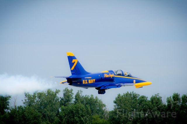 — — - Airshow Pilot, Peter Jacobs, flies his Angel 7 L-39 at the Kansas City Air Show in Kansas City, Missouri.