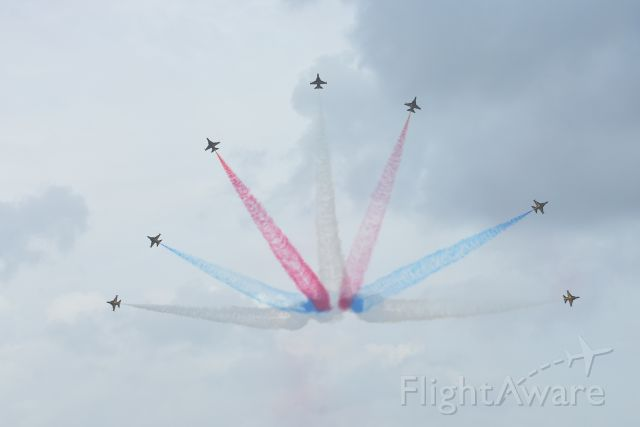 — — - A spectacular display by the Korean Black Eagles display team at the Singapore Airshow 20 February 2016.