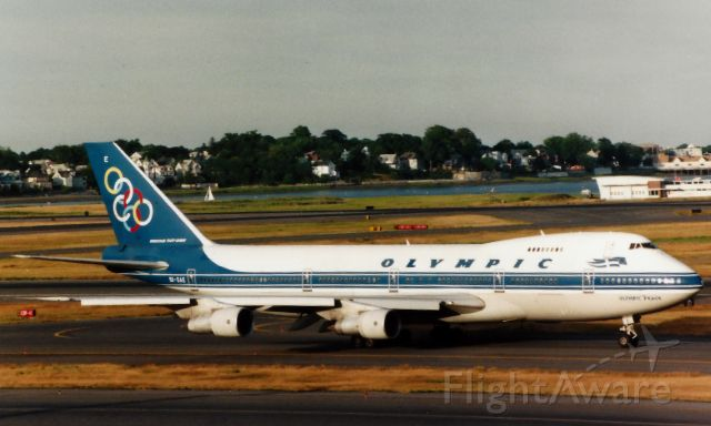Boeing 747-200 (SX-OAE) - Olympic B747-200 departing Boston Logan on 7/23/97 for Athens.