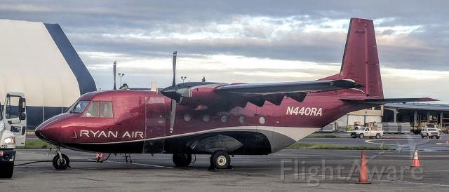 NURTANIO Aviocar (N440RA) - Ryan Air apron, Anchorage International Airport.  Tail #N440RA is listed as having been substantially damaged in a crash (https://aviation-safety.net/database/record.php?id=20090214-0 ) in 2009 but I guess it's fixed because here it being fueled for flight on 9/19/2019.