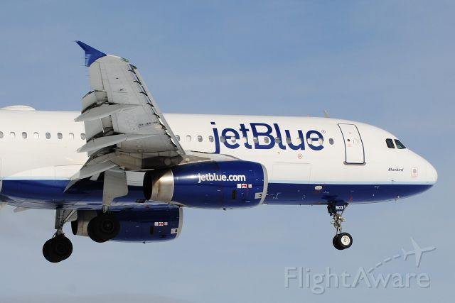"""Airbus A320 (N503JB) - """"Bluebird"""" subbing for the usual E190 on flight 1888 from Orlando"""