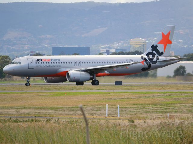 Airbus A320 (VH-VQH) - On taxi-way heading for Terminal 1 after arrival on runway 23. Saturday, 24th March 2012.