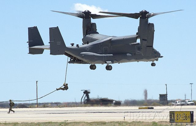 Bell V-22 Osprey (10-0027) - CV-22 from the 58th SOW performing a Pararescueman insertion demo