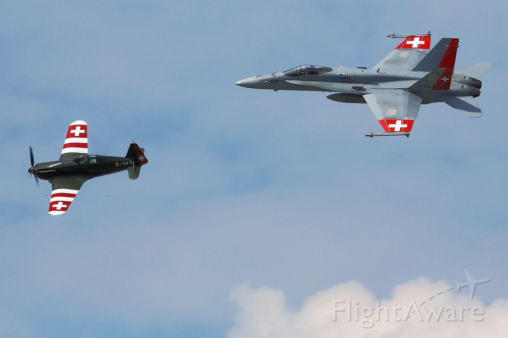 McDonnell Douglas FA-18 Hornet (J5014) - F/A-18 Hornet (Swiss Airforce) and Morane Saulnier D-3801 at AIR14 Airshow in Payerne/CH
