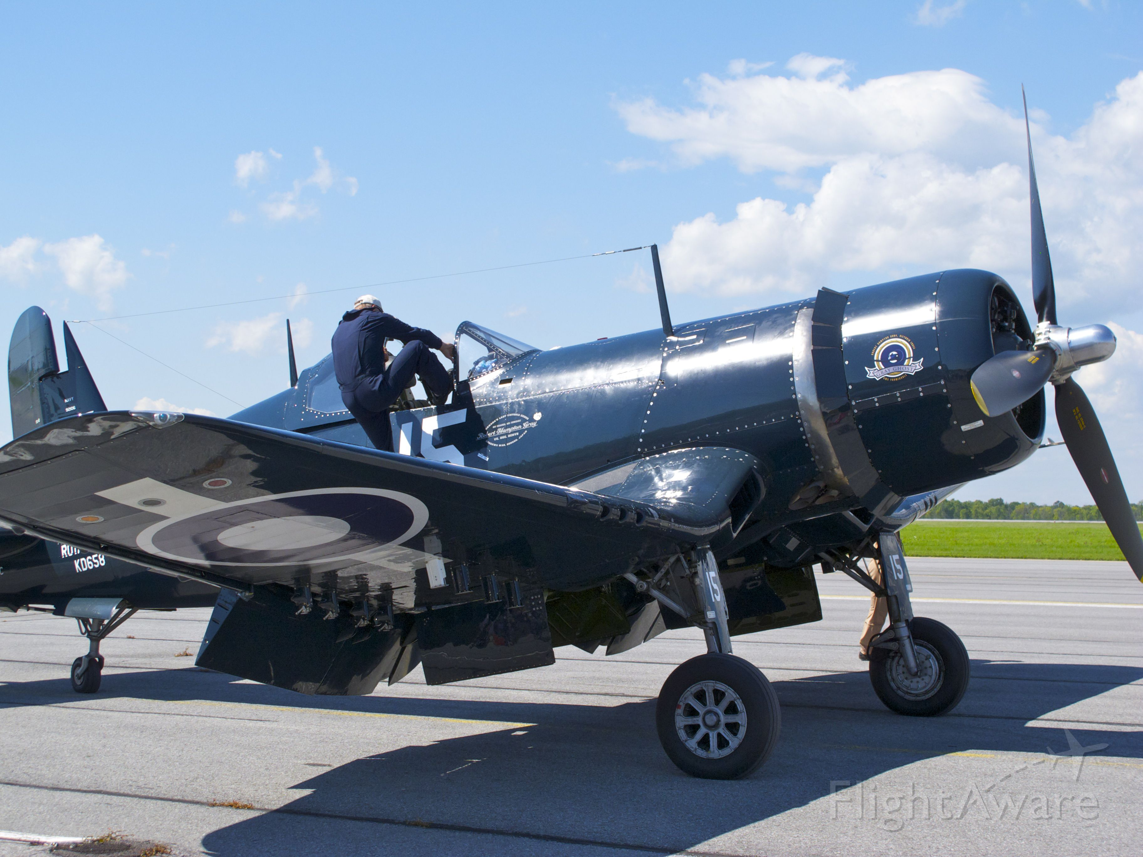 VOUGHT-SIKORSKY V-166 Corsair (C-GVWC) - Goodyear FG-1D Corsair painted in the colours of Victoria Cross recipient Canadian Lt Robert Hampton Gray prepares for flight during a visit by it and other aircraft operated by Vintage Wings of Canada to Kingston, Ontario in late August 2011