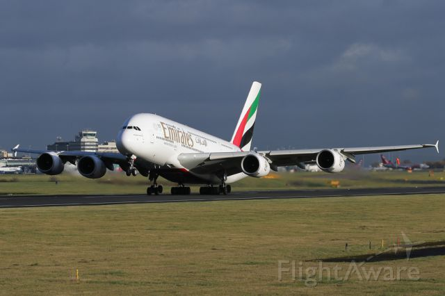 Airbus A380-800 (A6-EES) - UAE22, the first A380 of the day, departs to Dubai
