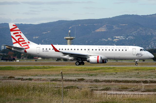 Embraer ERJ-190 (VH-ZPQ) - On taxiway heading for take-off on runway 05. Thursday, 8th May 2014.