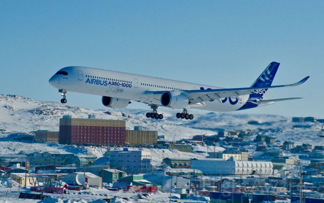 Airbus A350-900 (F-WWXL) - Airbus A350-1000 WXB Landed in Iqaluit, Nunavut for Cold Weather Testing on Feb. 21, 2017 Weather -32°C Wind: NNW 34 km/h Wind Chill: -49 Visibility: 32 km <br><br>Flightaware don