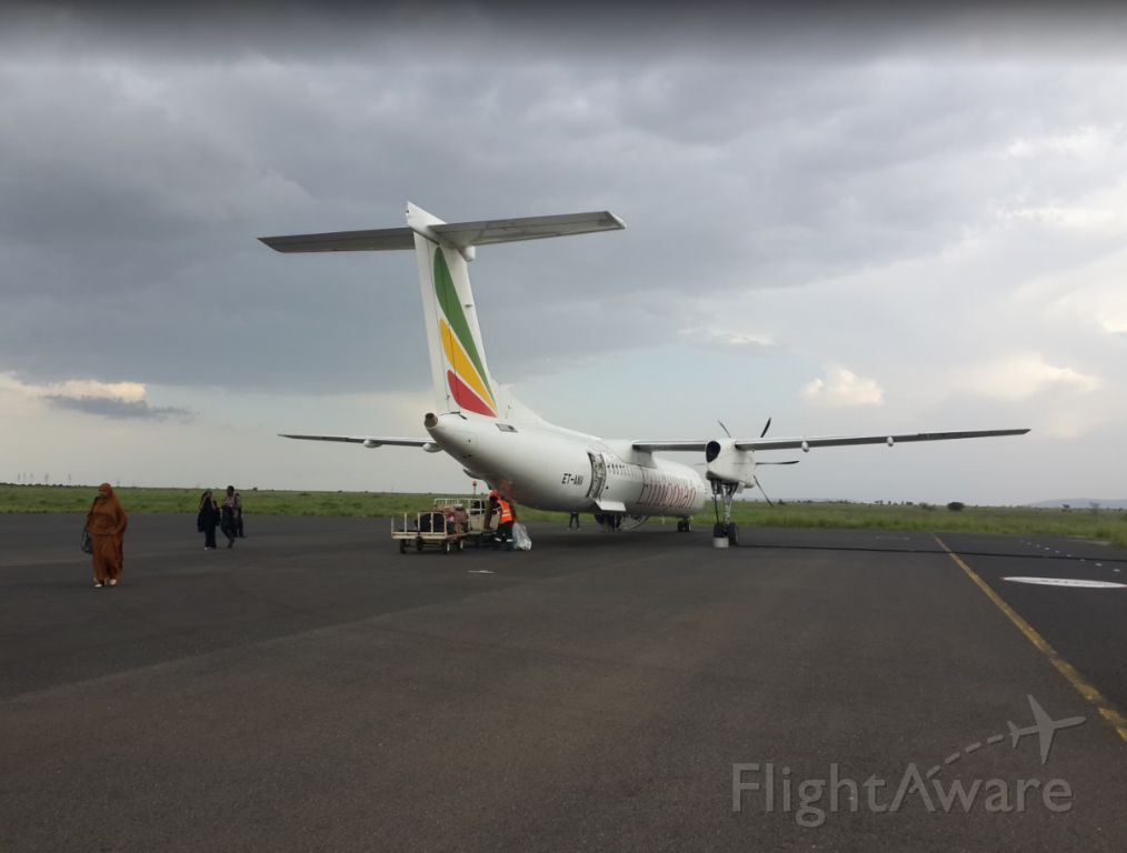 de Havilland Dash 8-400 (ET-ANV) - After arriving in the city of Jijiga from Gondar. ETs regional/domestic network is does a great job linking relatively populated cities with other populated cities and Addis Ababa