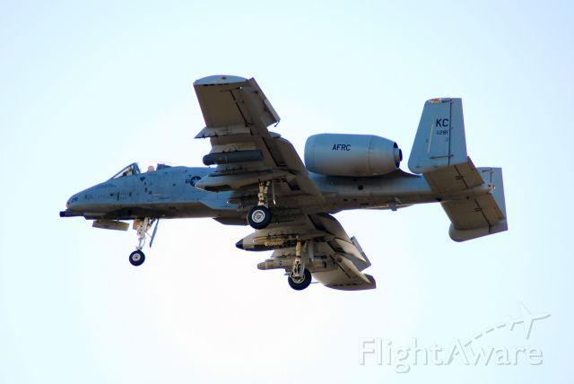 Fairchild-Republic Thunderbolt 2 — - A-10 landing at Whiteman AFB. Photo taken against the sun.