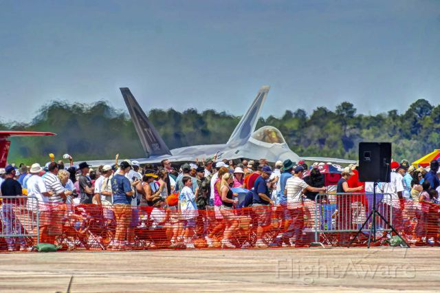 Lockheed F-22 Raptor — - An F-22 taxis close by the crowd at a Tyndall AFB airshow.