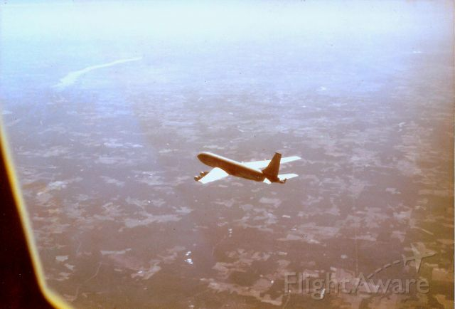 — — - Returning to Barksdale AFB, La, taken from 2nd KC-135 in 2-tanker cell, after refueling fighters over Gulf of Mexico. Jan, 1977