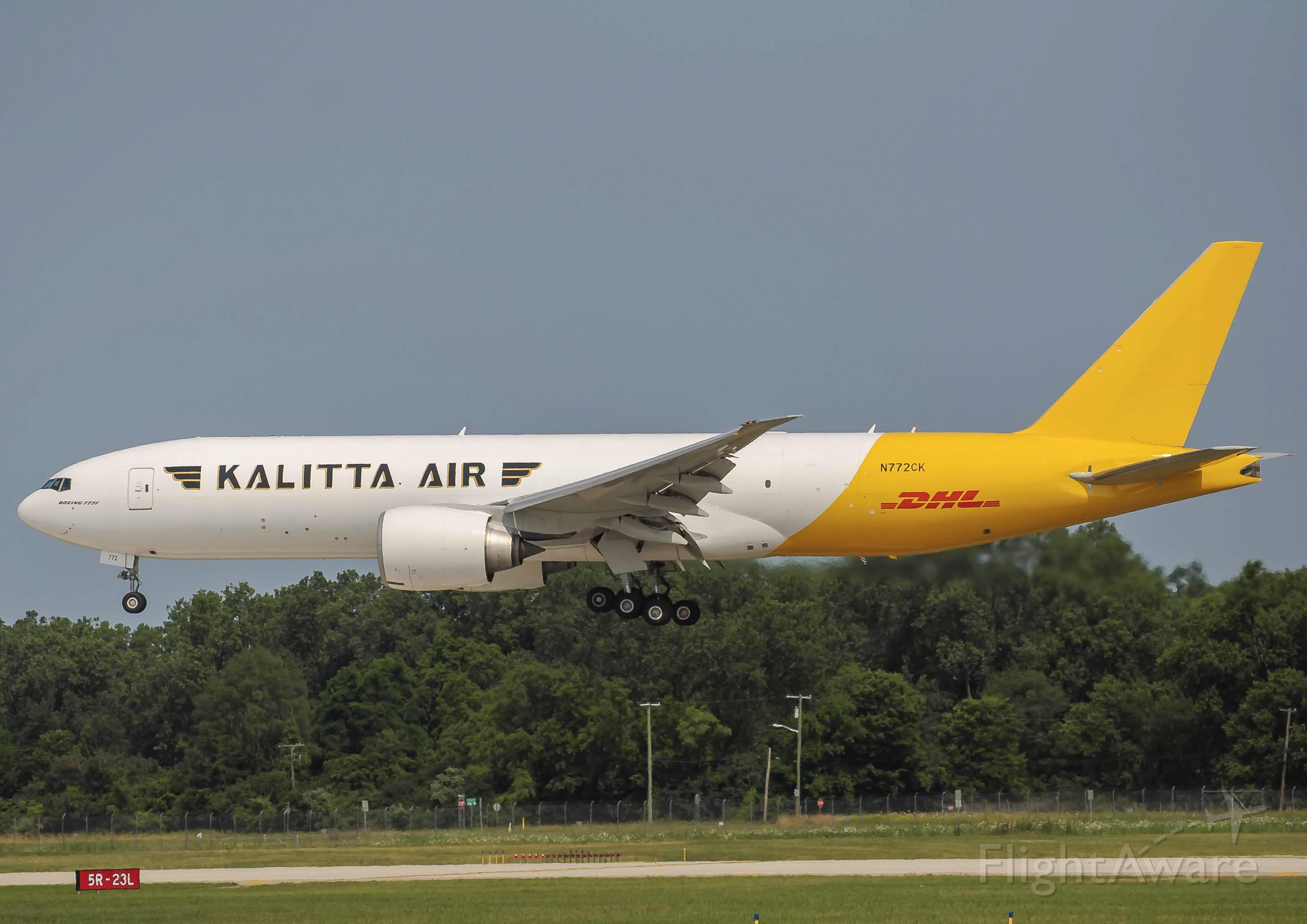 Boeing 777-200 (N772CK) - Kalitta 9777 landing 23L at Willow Run with its brand new(used) 777F. Running Proving runs between Oscoda and Ypsilanti for the past two days. <br /><br />7/25/2019