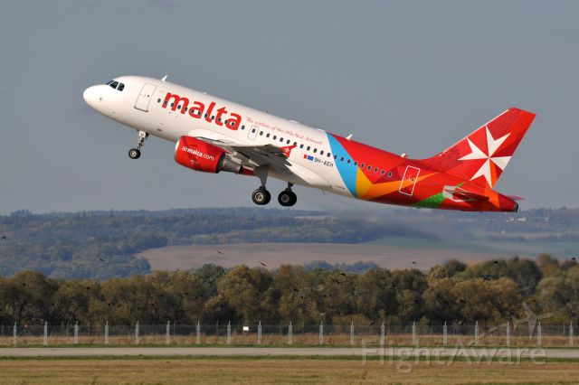 Airbus A319 (9H-AEH) - The first Airbus A319 with the new Air Malta livery. Departure from Eirtech Aviation painting facility located in Ostrava, Czech Republic. October 18th, 2012, Flight AMC-997 LKMT - LUQA.