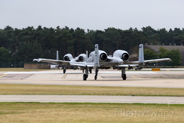 Fairchild-Republic Thunderbolt 2 — - Two A-10 taxiing out for RW 24 at RAF Lakenheath, UK.