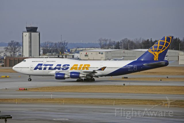 Boeing 747-400 (N465MC) - Departing carrying the Iowa State Cyclones football team to Orlando for the Camping World Bowl, where they'll take on Notre Dame.<br /><br />Photo taken: December 23, 2019.