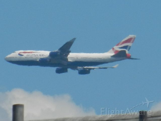 Boeing 747-400 (G-BYGA) - The Queen Of The Skies Flies By My House On Approach To Dulles On A Very Hot Day