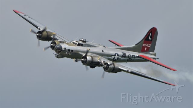 """Boeing B-17 Flying Fortress (N3193G) - Yankee Air Museums B-17G """"Yankee Lady"""" (serial number 44-85829) doing an """"injured"""" photo pass at Thunder Over Michigan 2018. She is wearing the markings of the 381st Bomb Group, 534th Bomb Squadron, based at RAF Ridgewell. My father, Richard Fisher, was a bomb loader in this unit from late 1943 to May 1945. This aircraft did not fly combat missions during World War II, as it was delivered to the USAAF on July 16, 1945 - too late for combat."""