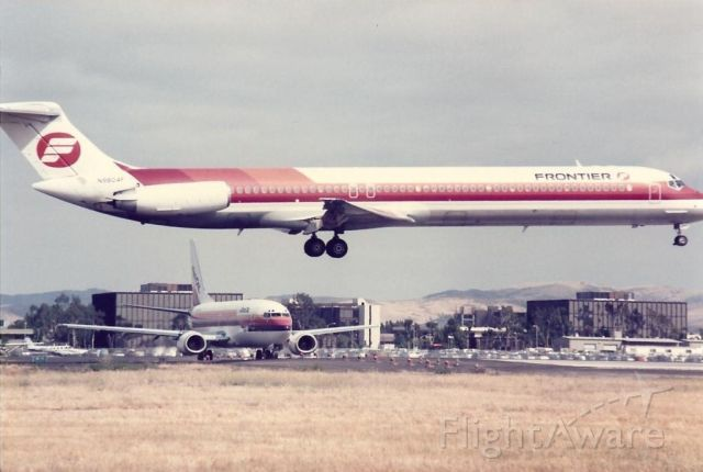 McDonnell Douglas MD-80 (N9804F) - Frontier MD-80 landing at Santa Ana in the mid-1980s