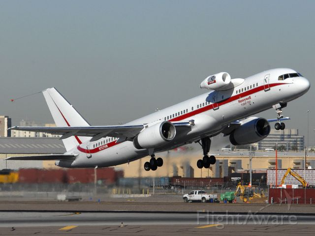 Boeing 757-200 (N757HW) - Honeywell engine testbed taking off from Runway 8