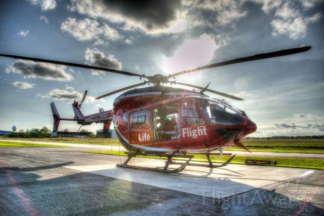KAWASAKI EC-145 (N455MH) - Memorial Hermann Life Flight on the pad at their South Base, Pearland Regional Hospital.