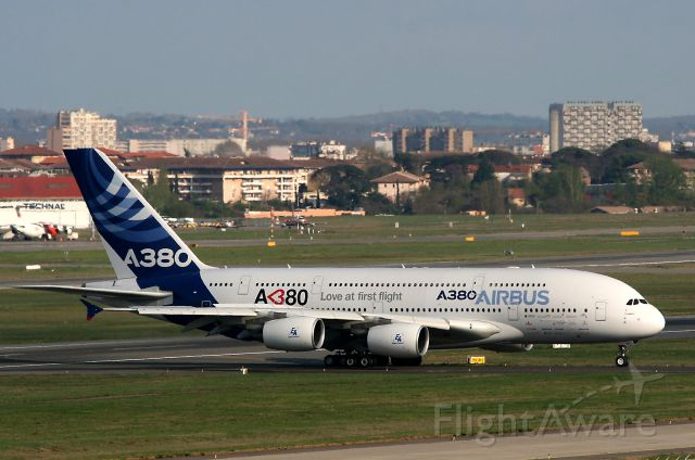 Airbus A380-800 (F-WWDD) - Airbus A380 after flying test, Toulouse Blagnac Airport (LFBO-TLS)