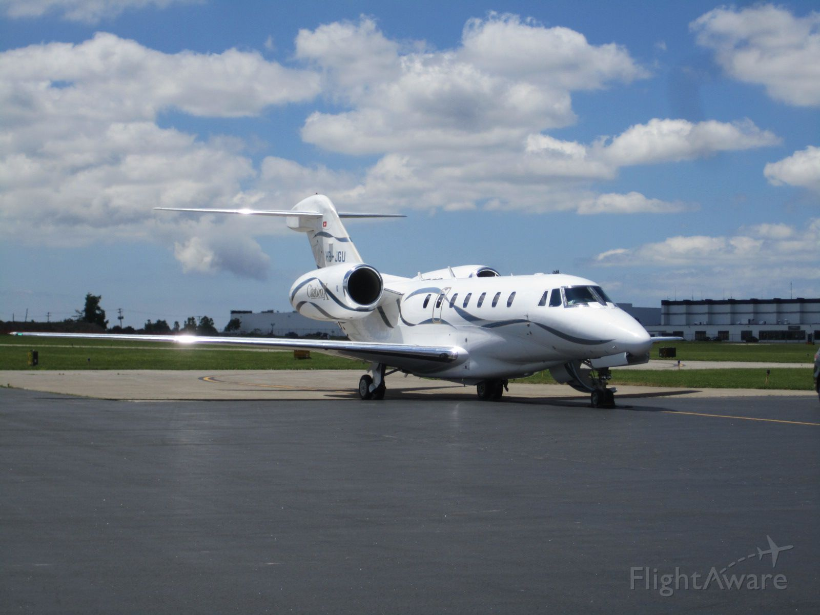 Cessna Citation X (HB-JGU) - Arriving from Reykjavik for a fueling stop at  at Buffalo-Niagara Airport 6.13.12
