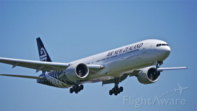BOEING 777-300 (ZK-OKR) - BOE56 on final to Rwy 16R to complete a flight test on 6/2/14. (LN:1206 / cn 44546).