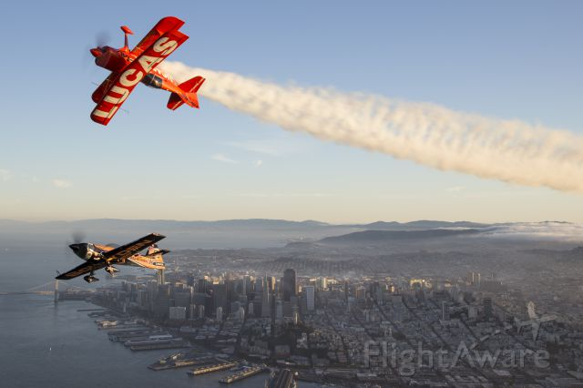 PITTS Special (S-1) (N5111B) - Mike Wiskus inverted overhead Super Dave Matheson over San Francisco Bay during the weekend of the Fleet Week Airshow