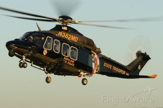 BELL-AGUSTA AB-139 (N382MD) - Trooper 3 landed Frederick in the evening