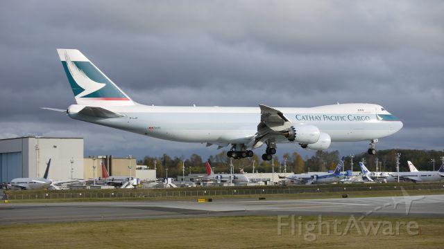 BOEING 747-8 (B-LJB) - BOE552 nears touchdown on runway 16R. 11/17/11.