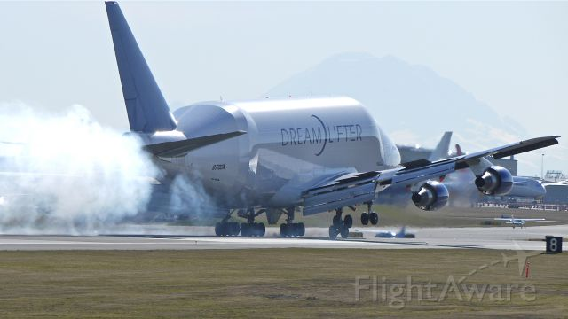 Boeing 747-400 (N718BA) - GTI4351 makes tire smoke as it touches down on runway 16R, 2/6/12.