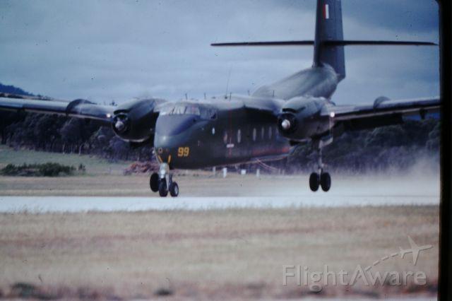 De Havilland Canada DHC-4 Caribou (A4199) - RAAF carabou conducting STOL training RWY 23, circa1982