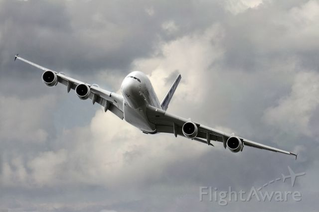 Airbus A380-800 (F-WWDD) - Off airport flying in a moody sky.