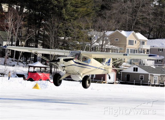 Piper PA-12 Super Cruiser (N713CM) - Alton Bay NH 02/13/21 Ice runway !