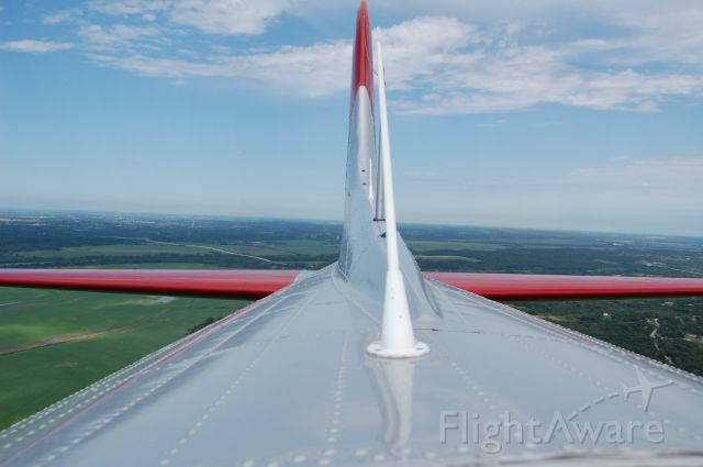 Boeing B-17 Flying Fortress (N5017N) - View of the tail of EAAs Aluminum Overcast - VFR at 2,000 feet, hatch open!
