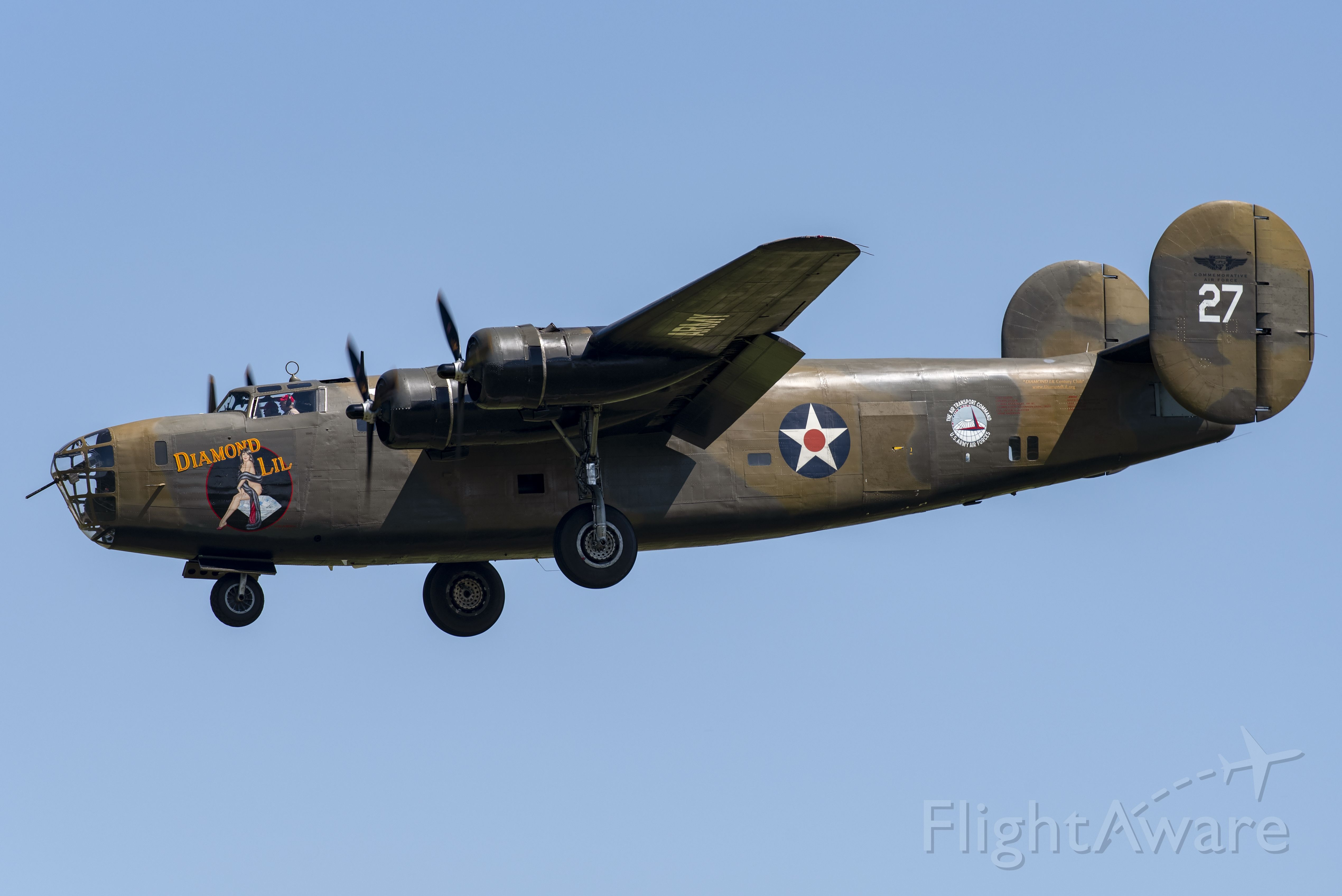 """Consolidated B-24 Liberator (N24927) - Commemorative Air Force's """"Diamond Lil"""" on a local training flight."""