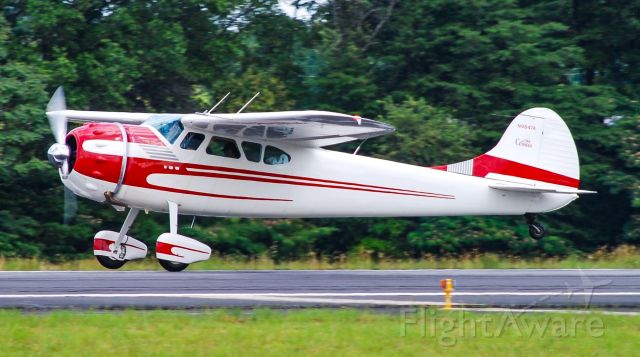 Cessna LC-126 (N9847A) - Taking off!  One wheel just starting to come up.  Very nice to see a classic tail dragger doing its thing.