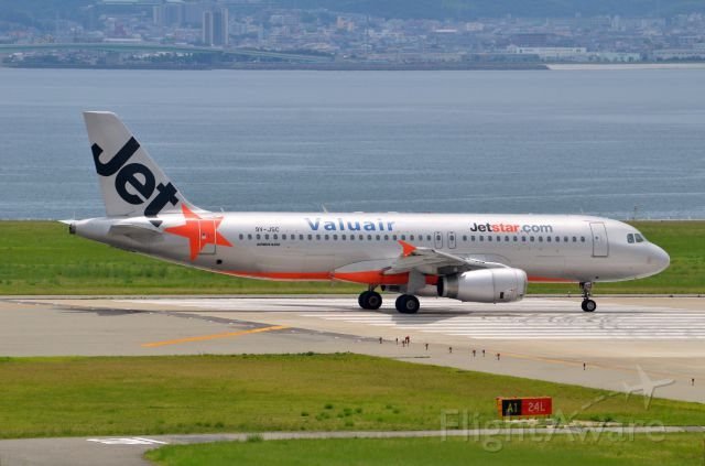 Airbus A320 (9V-JSC) - Airline: Jetstar Asia Airways (3K/JSA); Airport: Kansai International Airport (KIX/RJBB); Camera: Nikon D7000; Date: 4 July 2012