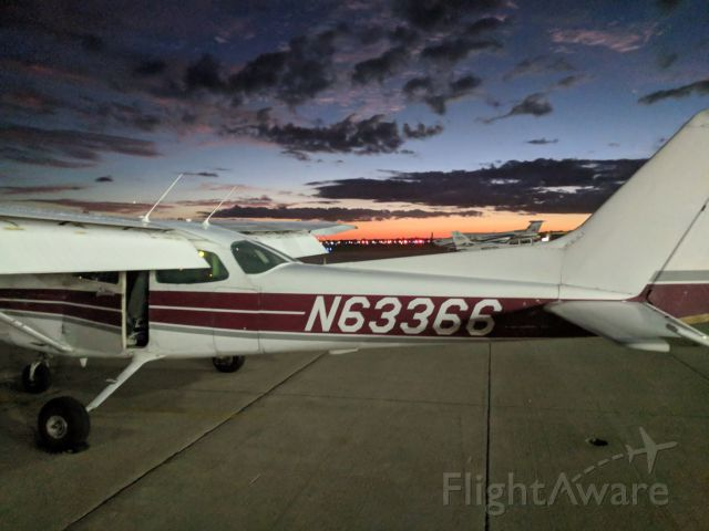 "Cessna Skyhawk (N63366) - Skyhawk 63366 ""Full House"" parked at the Purdue Aviation ramp before a night flight."