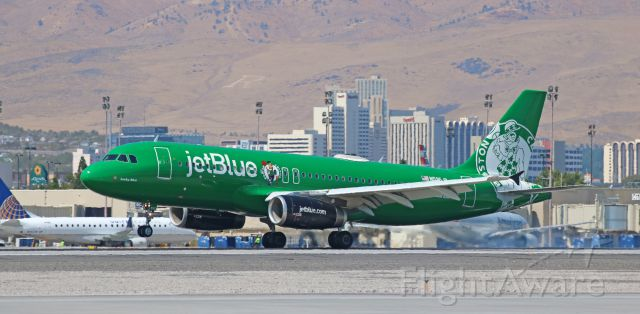 Airbus A320 (N595JB) - The Boston Celtics visit Reno! <br />Over the past week, jetBlue has sent three special livery birds here. The only problem is that JBU