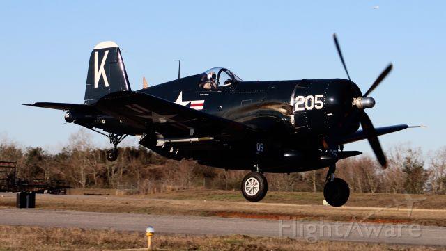 N240CF — - A Vought F4U-4 Corsair arriving H.L. Sonny Callahan Airport, fairhope, AL during Z's 2021 Invitational Jet Blast, Fairhope, AL - March 4, 2021.
