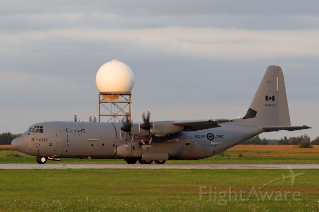 Lockheed C-130 Hercules (13-0607) - An RCAF C-130-J30 Super Hercules taxiing out for the twilight performance Airshow London Skydrive after the rain cleared up Friday, 27 Aug 2021.