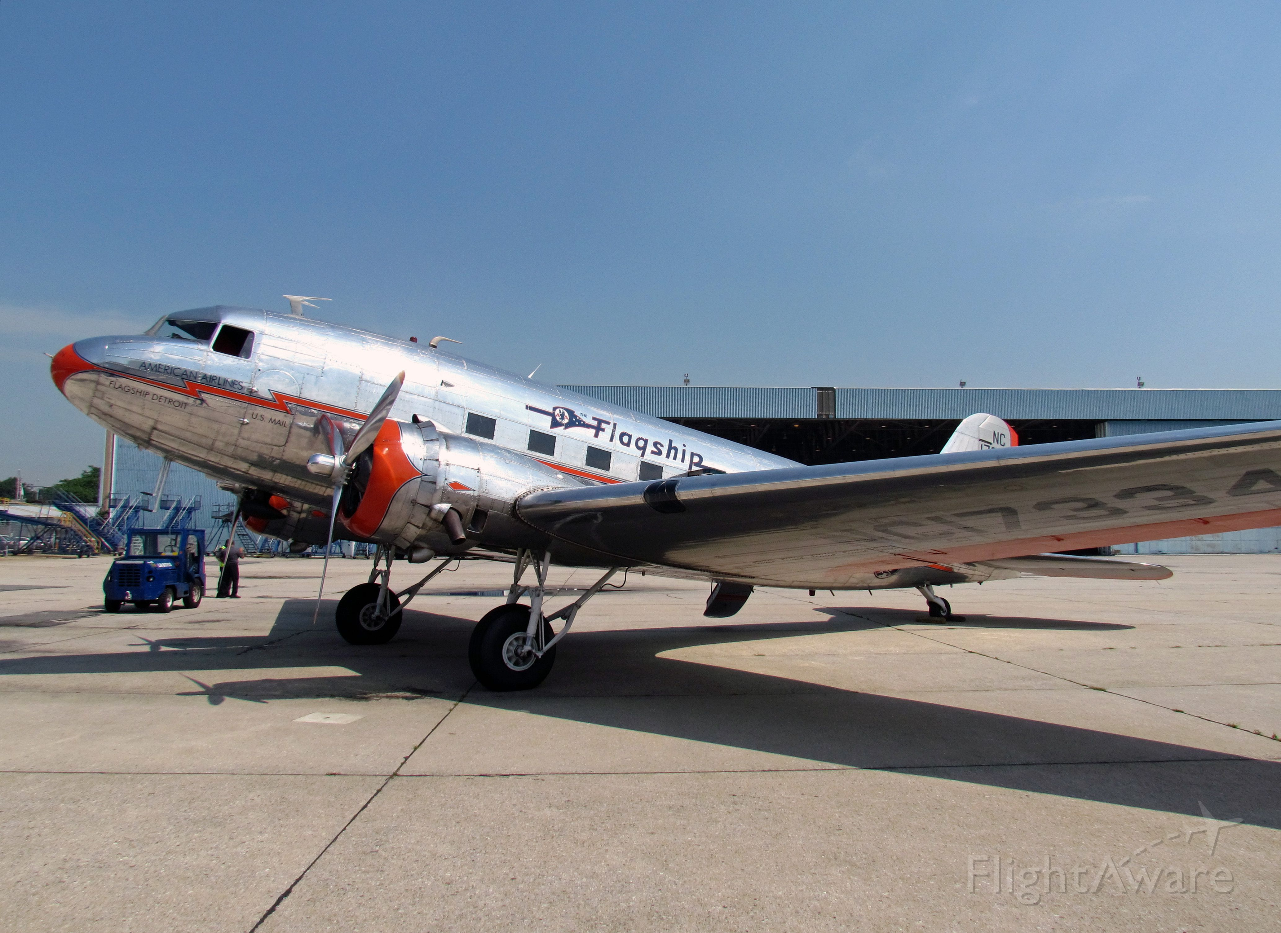 """Douglas DC-3 (NC17334) - American's """"Flagship Detroit"""" paid a special visit to JFK in July. It is pictured here near AA's Hanger 10 at JFK."""
