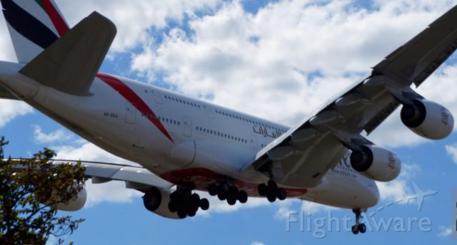 — — - photo of AIRBUS 380  at HATTON CROSS  by LONDON heathrow airport   Aug. 11th 2013  EMIRATES   ( UAE  at EGLL  LHR )
