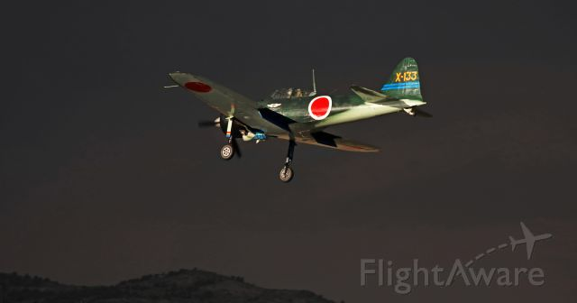 Mitsubishi A6M Zero (N712Z) - This last-moments-of-twilight snap of the Commemorative Air Force Southern California Wing's Zero (N716Z) was clicked using ambient light.  Only six or seven minutes later, it had become so dark that there would have been no hope of getting sharp focus on the dark airplane against the night sky backdrop.