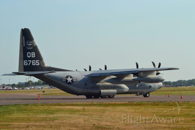 Lockheed C-130 Hercules (N6765) - QB6765 US Marine Corp C-130 assigned to the VMGR-352 sitting on the tarmac in KFSD - 7-20-2012
