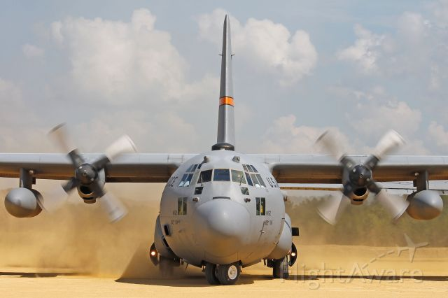 Lockheed C-130 Hercules (92-1452) - A close-up of a USAF Lockheed C-130, 92-1452, cn 382-5329, from the 169th Airlift Squadron (AS), 182d Airlift Wing (AW), Peoria, Illinois ANG at Fort McCoy/Young Tactical Landing Site-Air Assault Strip, Ft. McCoy, (WS20) USA – WI, during Warrior Exercise 86-13-01 (WAREX) on 17 Jul 2013.