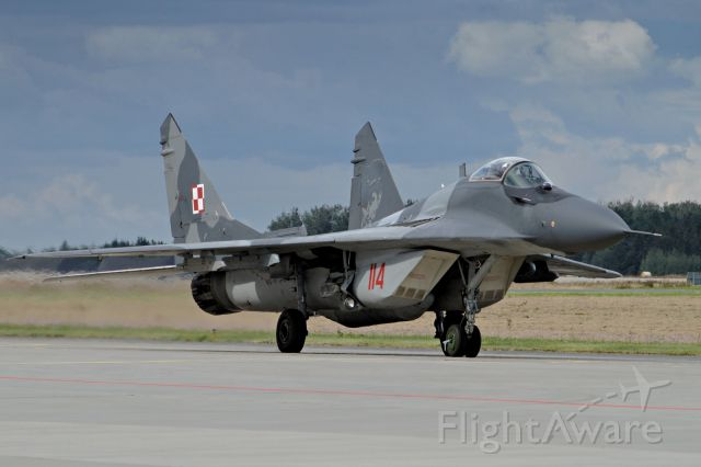 N114 — - 2017. MiG-29A of  1-st  Tac Sqn rolling to air display at open day of 31-st Airbase, Poznań, Poland